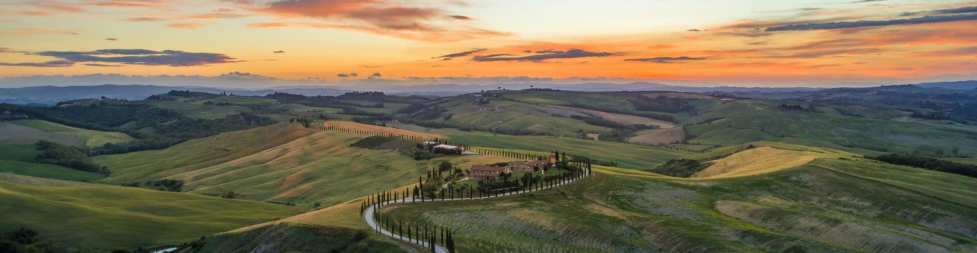 Zonsondergang in Toscane